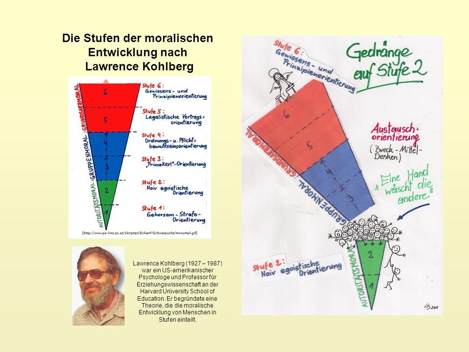 Die Stufen der moralischen Entwicklung nach Lawrence Kohlberg Lawrence Kohlberg (1927 – 1987) war ein US-amerikanischer Psychologe und Professor für E