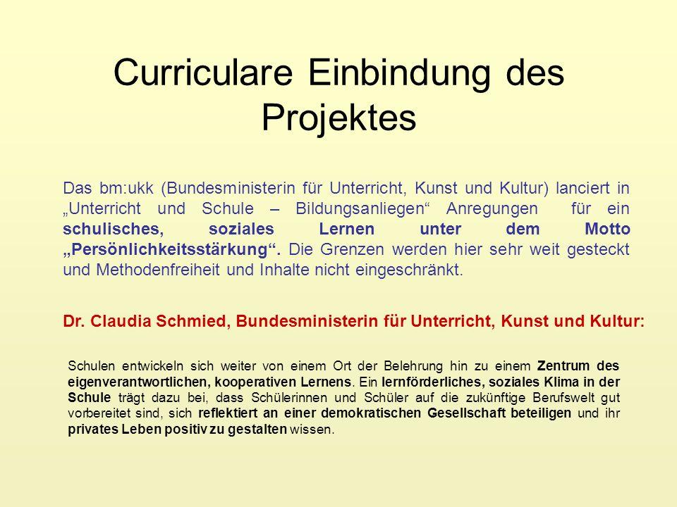 Curriculare Einbindung des Projektes Das bm:ukk (Bundesministerin für Unterricht, Kunst und Kultur) lanciert in Unterricht und Schule – Bildungsanlieg