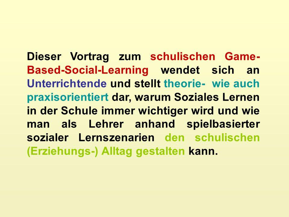 Dieser Vortrag zum schulischen Game- Based-Social-Learning wendet sich an Unterrichtende und stellt theorie- wie auch praxisorientiert dar, warum Soziales Lernen in der Schule immer wichtiger wird und wie man als Lehrer anhand spielbasierter sozialer Lernszenarien den schulischen (Erziehungs-) Alltag gestalten kann.