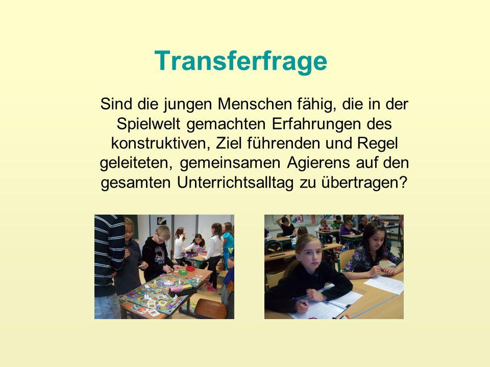 Transferfrage Sind die jungen Menschen fähig, die in der Spielwelt gemachten Erfahrungen des konstruktiven, Ziel führenden und Regel geleiteten, gemei