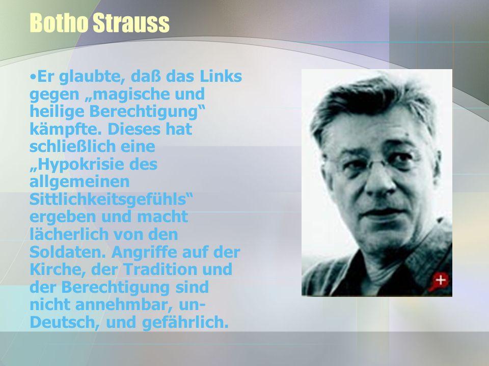 Botho Strauss Er glaubte, daß das Links gegen magische und heilige Berechtigung kämpfte.