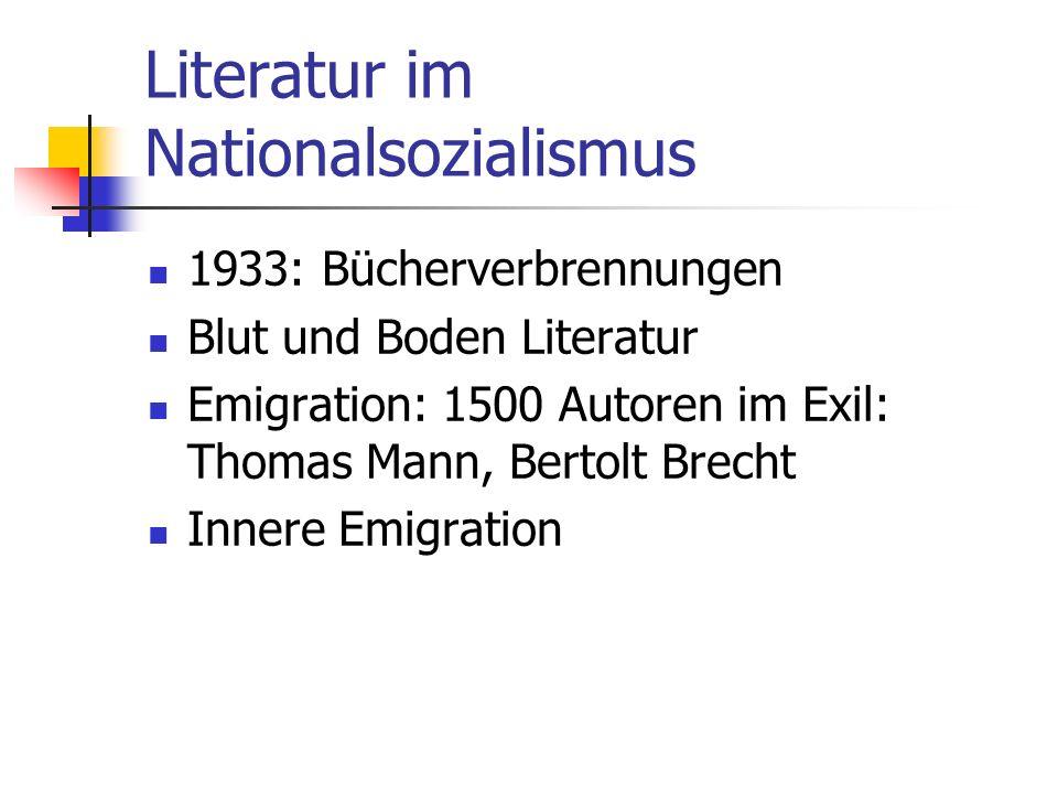 Literatur im Nationalsozialismus 1933: Bücherverbrennungen Blut und Boden Literatur Emigration: 1500 Autoren im Exil: Thomas Mann, Bertolt Brecht Inne