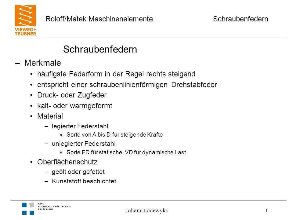 Schraubenfedern Roloff/Matek Maschinenelemente Johann Lodewyks1 Schraubenfedern –Merkmale häufigste Federform in der Regel rechts steigend entspricht