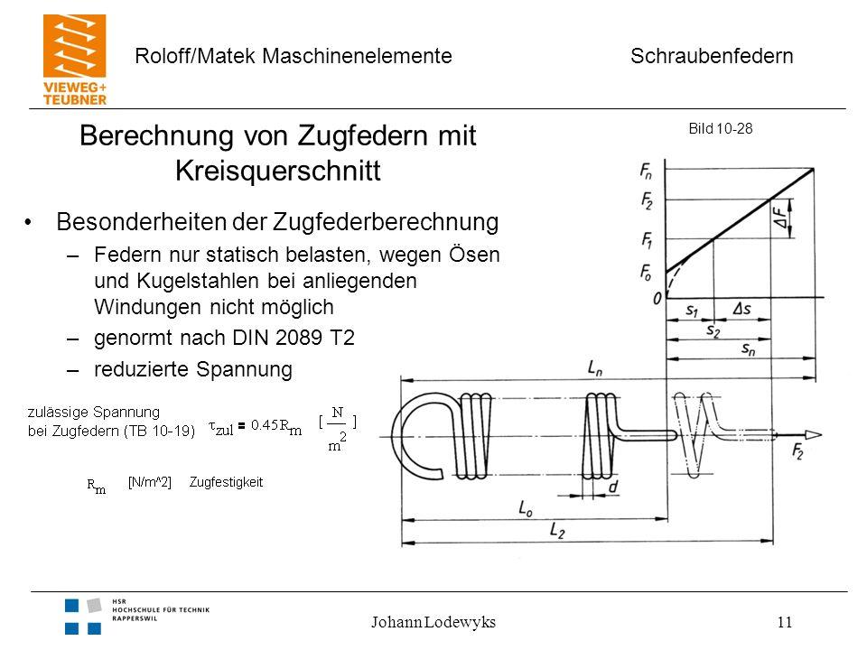 Schraubenfedern Roloff/Matek Maschinenelemente Johann Lodewyks11 Berechnung von Zugfedern mit Kreisquerschnitt Besonderheiten der Zugfederberechnung –