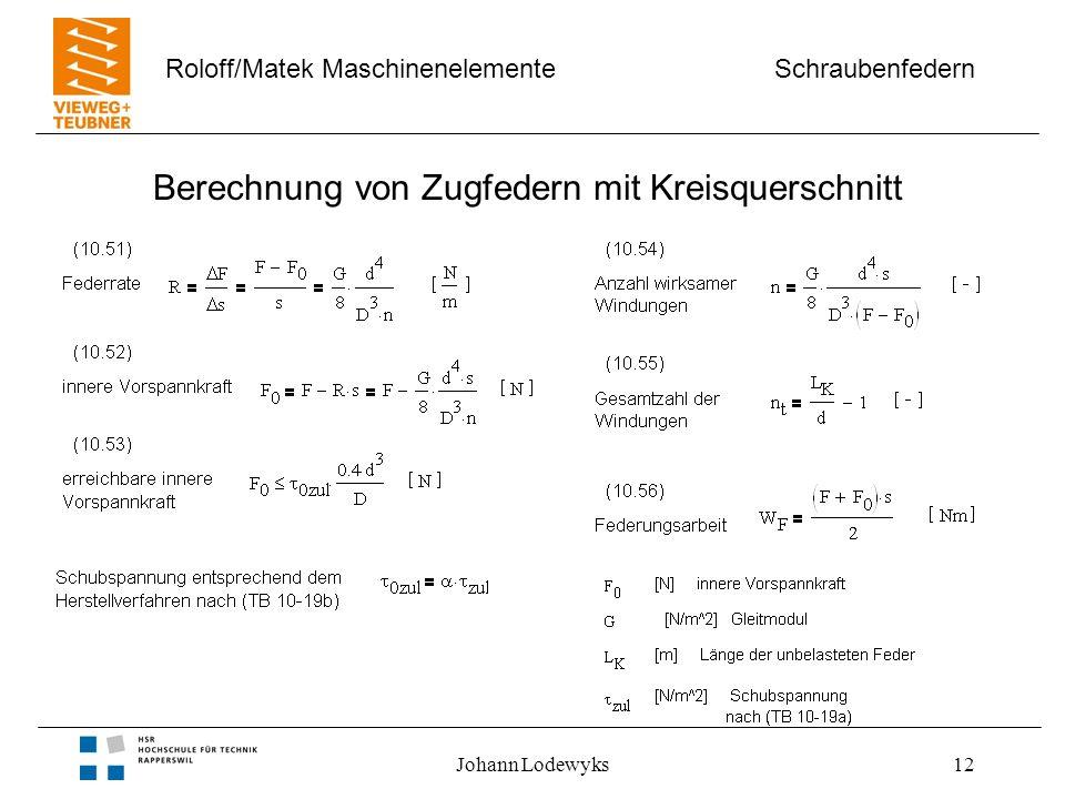 Schraubenfedern Roloff/Matek Maschinenelemente Johann Lodewyks12 Berechnung von Zugfedern mit Kreisquerschnitt