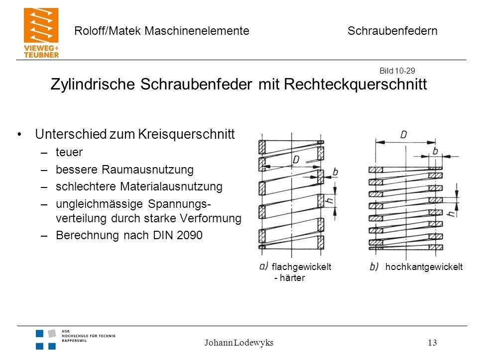 Schraubenfedern Roloff/Matek Maschinenelemente Johann Lodewyks13 Zylindrische Schraubenfeder mit Rechteckquerschnitt Unterschied zum Kreisquerschnitt