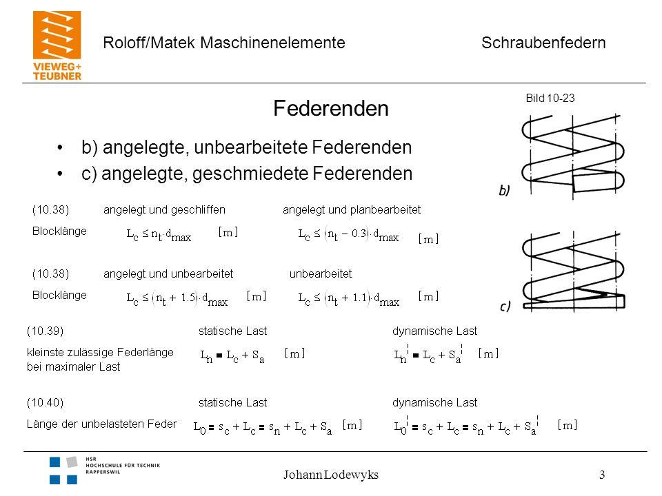 Schraubenfedern Roloff/Matek Maschinenelemente Johann Lodewyks3 Federenden b) angelegte, unbearbeitete Federenden c) angelegte, geschmiedete Federende