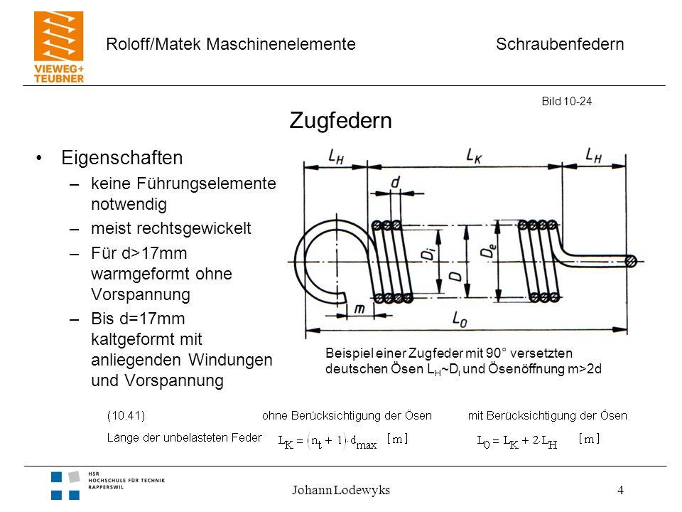 Schraubenfedern Roloff/Matek Maschinenelemente Johann Lodewyks4 Zugfedern Eigenschaften –keine Führungselemente notwendig –meist rechtsgewickelt –Für