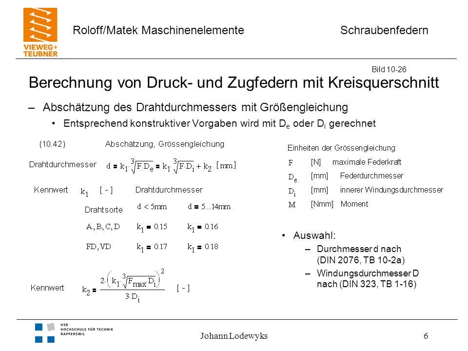 Schraubenfedern Roloff/Matek Maschinenelemente Johann Lodewyks6 Berechnung von Druck- und Zugfedern mit Kreisquerschnitt –Abschätzung des Drahtdurchme