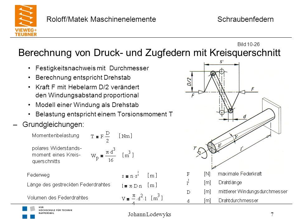 Schraubenfedern Roloff/Matek Maschinenelemente Johann Lodewyks7 Berechnung von Druck- und Zugfedern mit Kreisquerschnitt Festigkeitsnachweis mit Durch