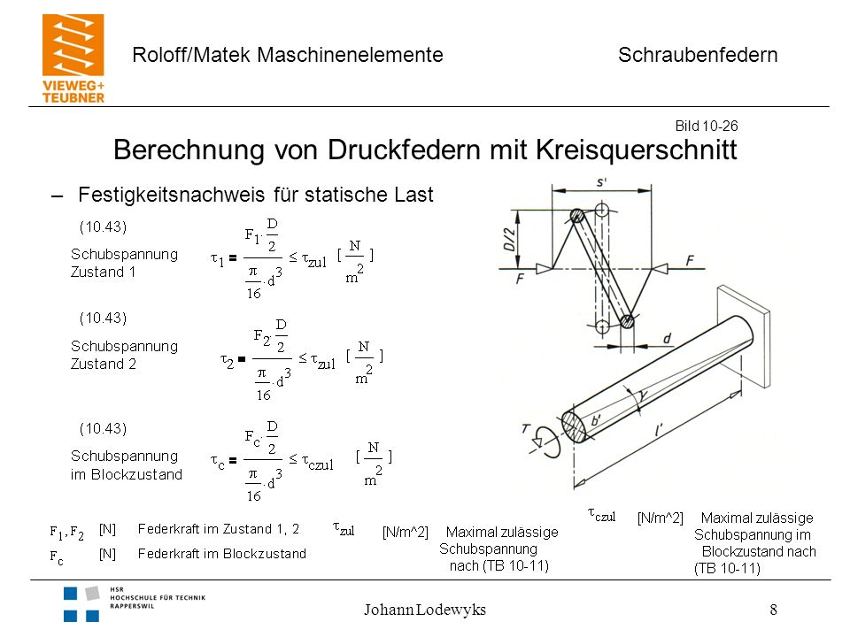 Schraubenfedern Roloff/Matek Maschinenelemente Johann Lodewyks8 Berechnung von Druckfedern mit Kreisquerschnitt –Festigkeitsnachweis für statische Las