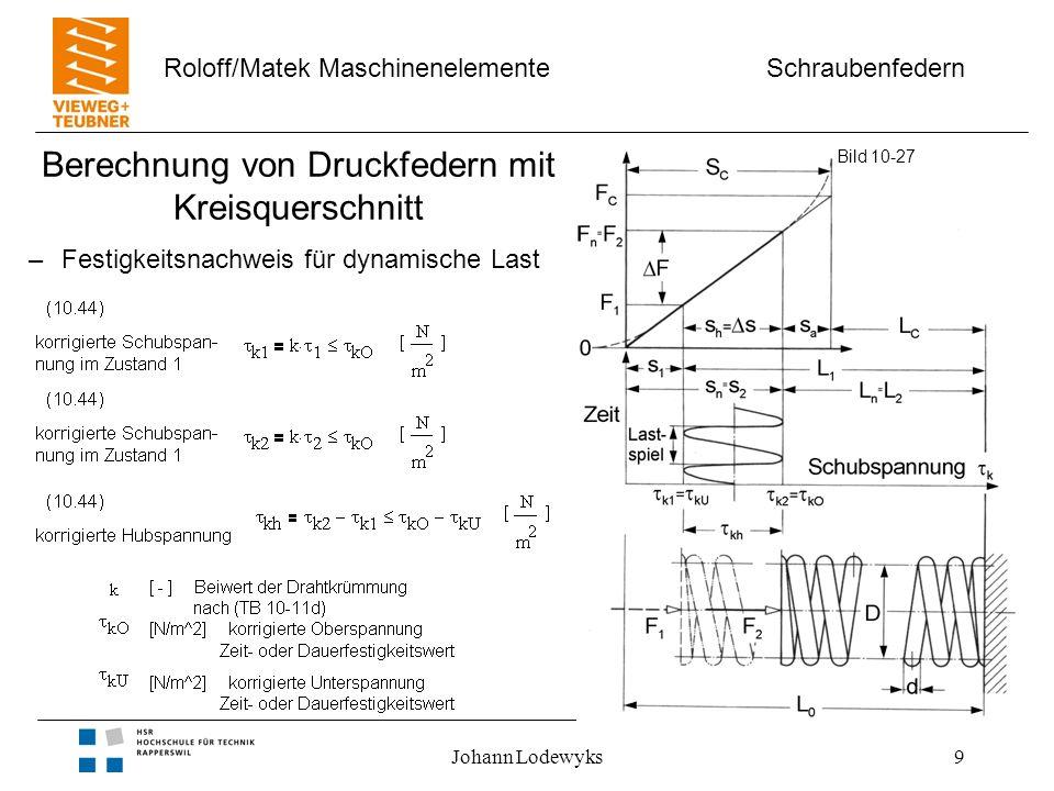 Schraubenfedern Roloff/Matek Maschinenelemente Johann Lodewyks9 Berechnung von Druckfedern mit Kreisquerschnitt Bild 10-27 –Festigkeitsnachweis für dy