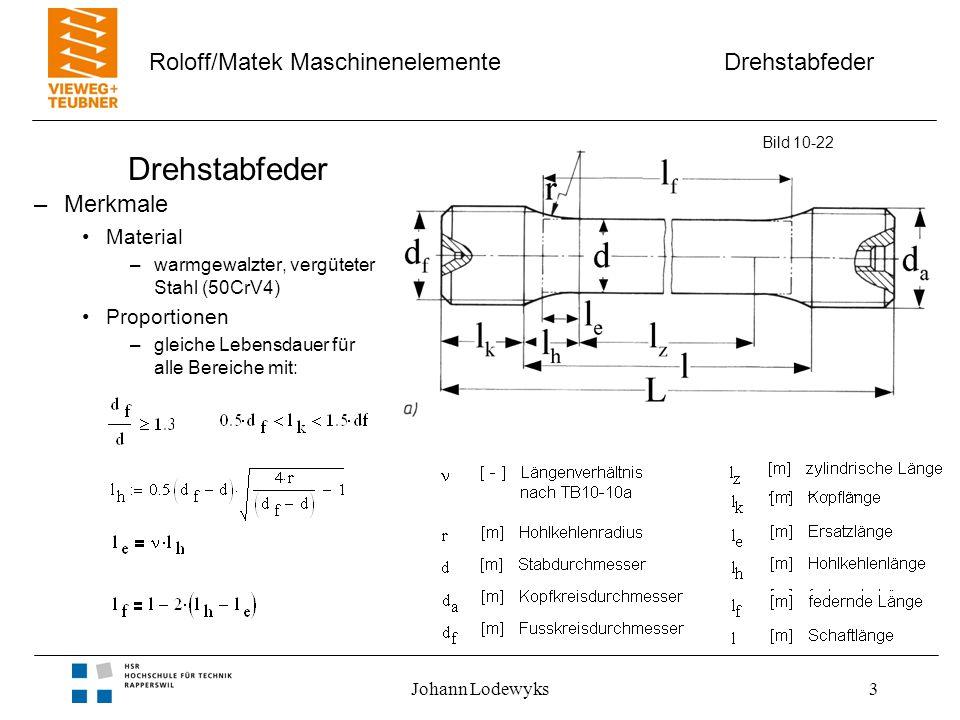 Drehstabfeder Roloff/Matek Maschinenelemente Johann Lodewyks3 Drehstabfeder –Merkmale Material –warmgewalzter, vergüteter Stahl (50CrV4) Proportionen