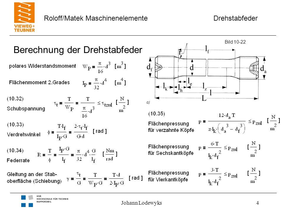Drehstabfeder Roloff/Matek Maschinenelemente Johann Lodewyks5 Parallelschaltung von Drehstabfedern Aufbau –Rundstäbe –Vierkantköpfe Eigenschaften –nichtlineare Federkennlinie –weicher als vergleichbare Einzelfeder Bild 10-22