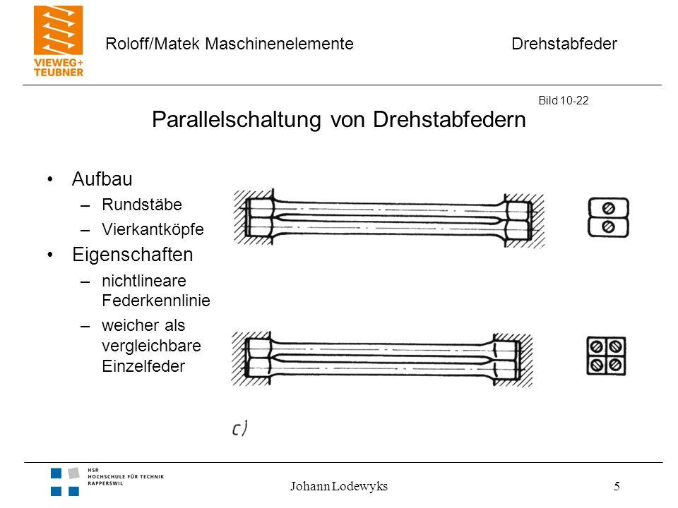 Drehstabfeder Roloff/Matek Maschinenelemente Johann Lodewyks6 Reihenschaltung von Drehrohrfedern Aufbau –Feder 1 Rundstab –Feder 2 Drehrohr –Feder 3 Drehrohr Eigenschaften –geringer Einbauraum –nur geringe Querkraft zulässig Bild 10-22