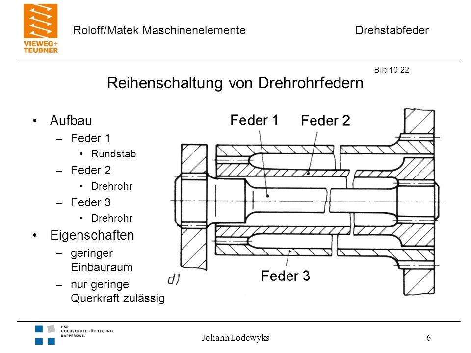 Drehstabfeder Roloff/Matek Maschinenelemente Johann Lodewyks6 Reihenschaltung von Drehrohrfedern Aufbau –Feder 1 Rundstab –Feder 2 Drehrohr –Feder 3 D