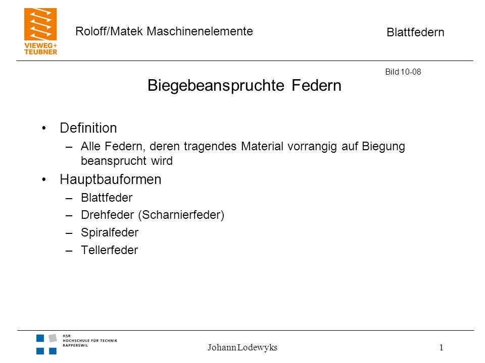 Blattfedern Roloff/Matek Maschinenelemente Johann Lodewyks1 Biegebeanspruchte Federn Definition –Alle Federn, deren tragendes Material vorrangig auf B