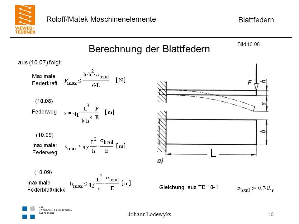 Blattfedern Roloff/Matek Maschinenelemente Johann Lodewyks10 Berechnung der Blattfedern Bild 10-08 aus (10.07) folgt: