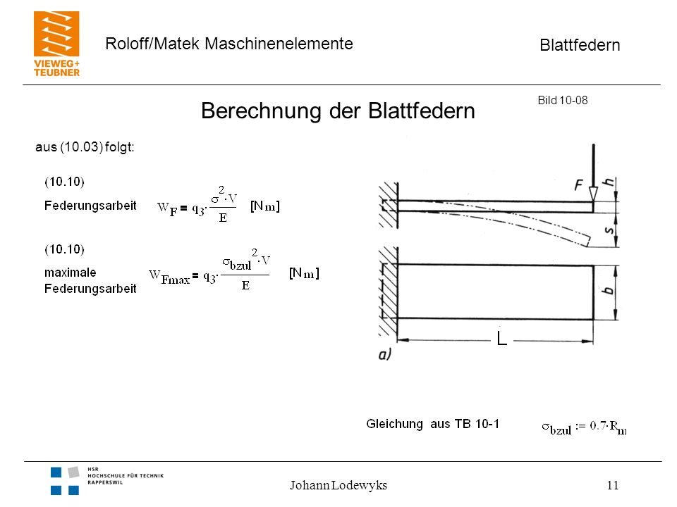 Blattfedern Roloff/Matek Maschinenelemente Johann Lodewyks11 Berechnung der Blattfedern Bild 10-08 aus (10.03) folgt: