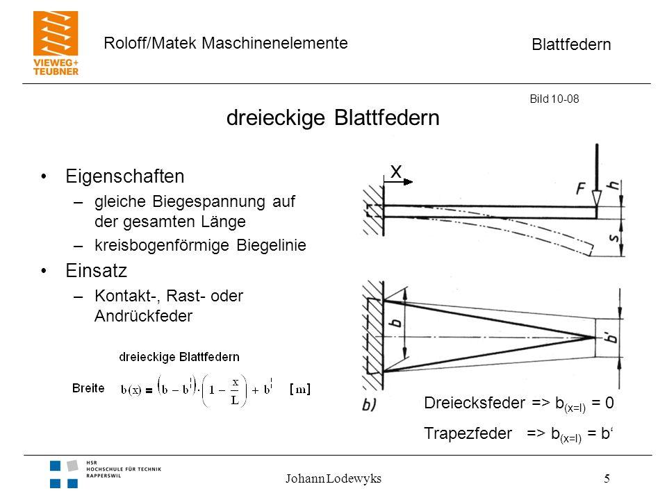 Blattfedern Roloff/Matek Maschinenelemente Johann Lodewyks5 dreieckige Blattfedern Eigenschaften –gleiche Biegespannung auf der gesamten Länge –kreisb