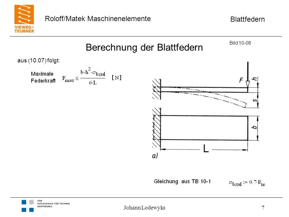Blattfedern Roloff/Matek Maschinenelemente Johann Lodewyks7 Berechnung der Blattfedern Bild 10-08 aus (10.07) folgt: