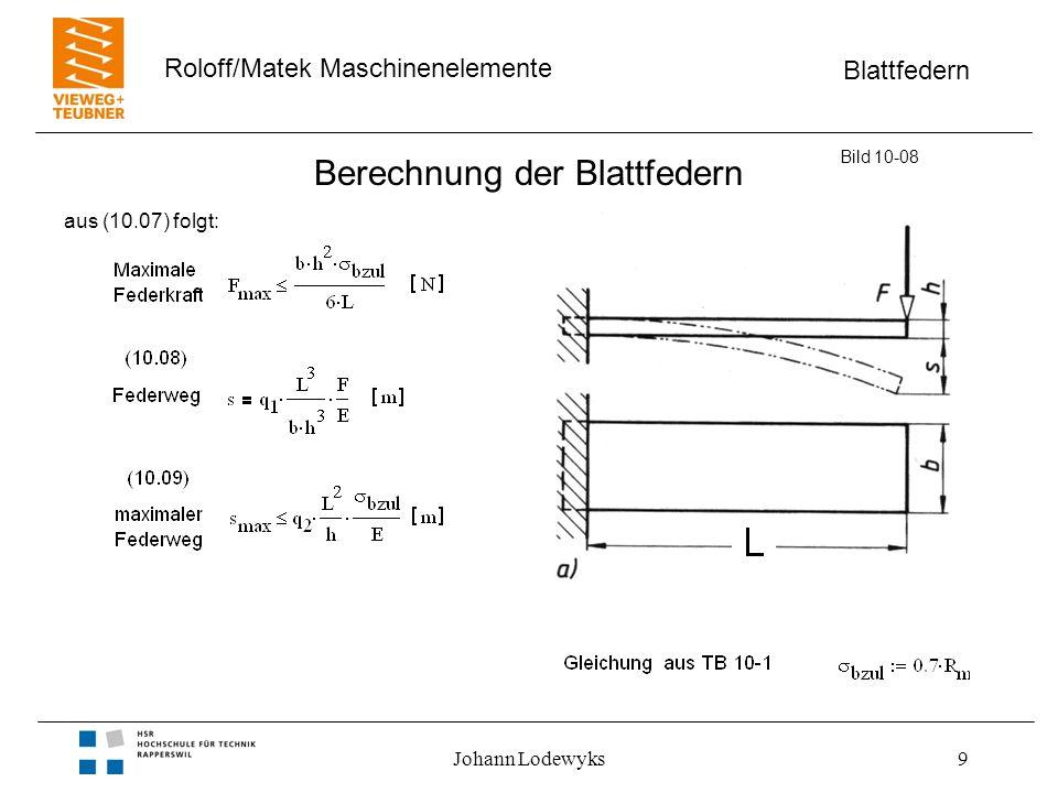 Blattfedern Roloff/Matek Maschinenelemente Johann Lodewyks9 Berechnung der Blattfedern Bild 10-08 aus (10.07) folgt: