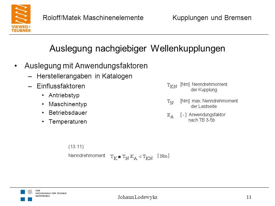 Kupplungen und Bremsen Roloff/Matek Maschinenelemente Johann Lodewyks11 Auslegung nachgiebiger Wellenkupplungen Auslegung mit Anwendungsfaktoren –Hers