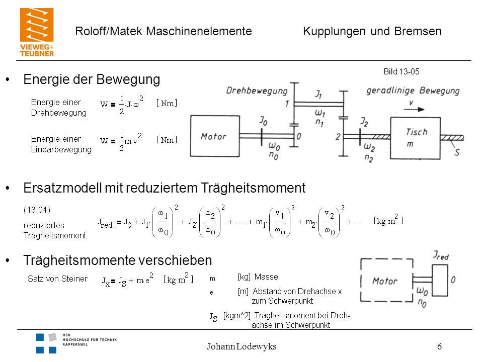 Kupplungen und Bremsen Roloff/Matek Maschinenelemente Johann Lodewyks6 Bild 13-05 Energie der Bewegung Ersatzmodell mit reduziertem Trägheitsmoment Tr