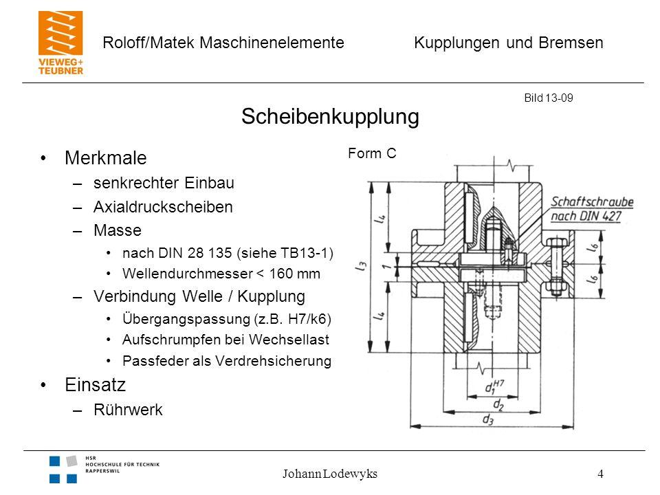 Kupplungen und Bremsen Roloff/Matek Maschinenelemente Johann Lodewyks4 Scheibenkupplung Merkmale –senkrechter Einbau –Axialdruckscheiben –Masse nach DIN 28 135 (siehe TB13-1) Wellendurchmesser < 160 mm –Verbindung Welle / Kupplung Übergangspassung (z.B.