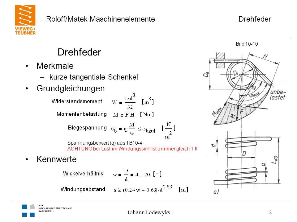 Drehfeder Roloff/Matek Maschinenelemente Johann Lodewyks2 Drehfeder Merkmale –kurze tangentiale Schenkel Grundgleichungen Kennwerte Bild 10-10 Spannungsbeiwert (q) aus TB10-4 ACHTUNG bei Last im Windungssinn ist q immer gleich 1 !!