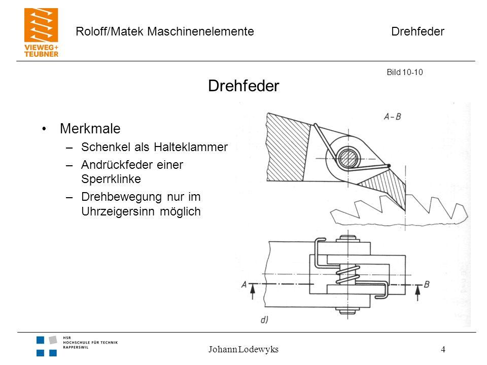 Drehfeder Roloff/Matek Maschinenelemente Johann Lodewyks4 Drehfeder Merkmale –Schenkel als Halteklammer –Andrückfeder einer Sperrklinke –Drehbewegung nur im Uhrzeigersinn möglich Bild 10-10
