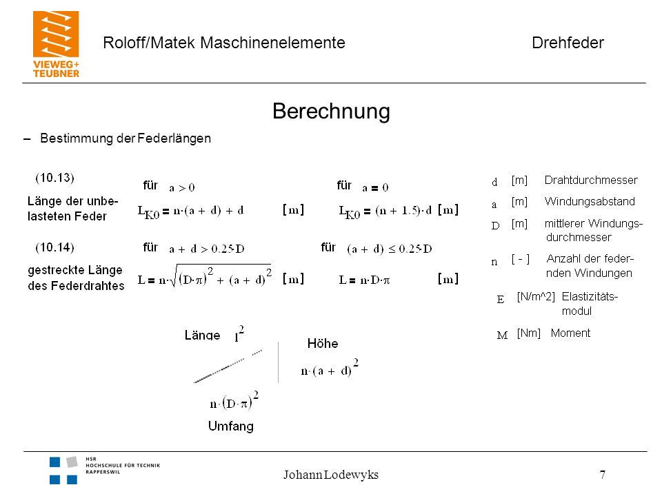 Drehfeder Roloff/Matek Maschinenelemente Johann Lodewyks7 Berechnung –Bestimmung der Federlängen