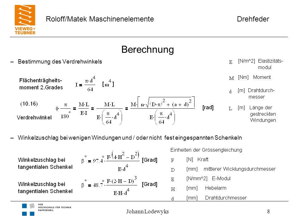 Drehfeder Roloff/Matek Maschinenelemente Johann Lodewyks8 Berechnung –Bestimmung des Verdrehwinkels –Winkelzuschlag bei wenigen Windungen und / oder nicht fest eingespannten Schenkeln