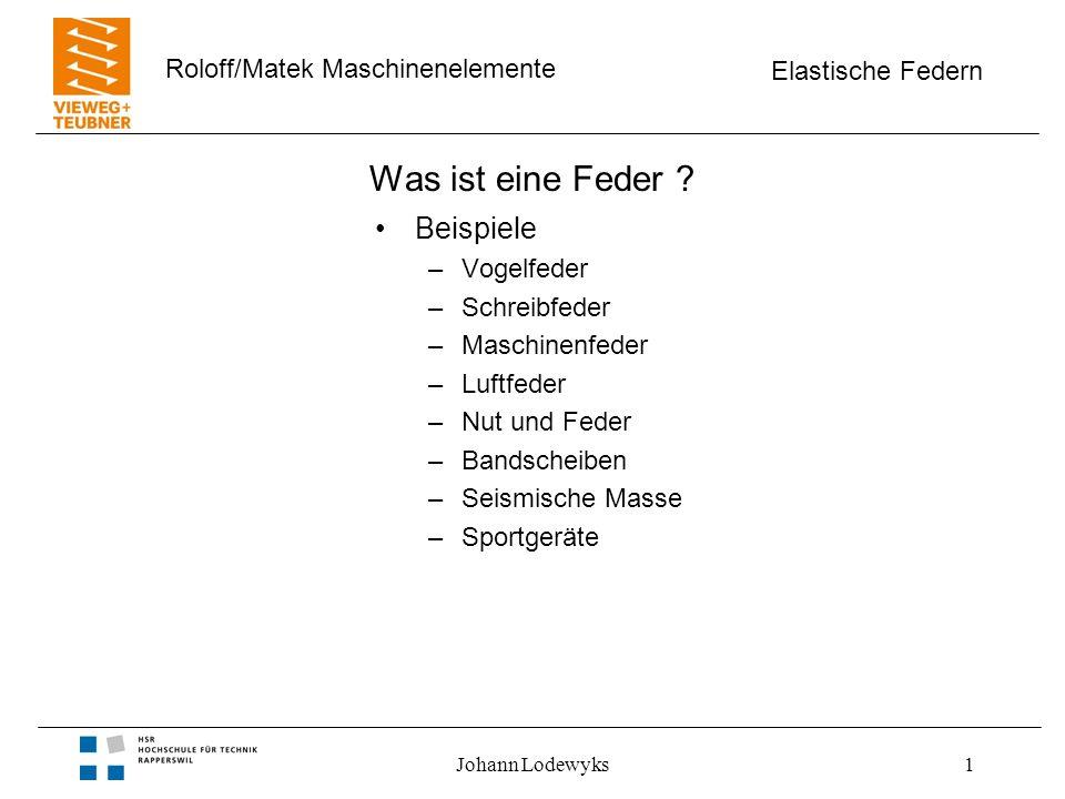 Elastische Federn Roloff/Matek Maschinenelemente Johann Lodewyks22 Einmassenschwinger Längs- und Drehschwinger –Eigenfrequenz unabhängig von der Auslenkung –gedämpfte Schwingung bei Reibungsverlust Bild 10-03