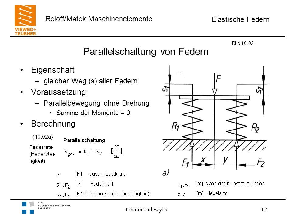 Elastische Federn Roloff/Matek Maschinenelemente Johann Lodewyks17 Parallelschaltung von Federn Eigenschaft –gleicher Weg (s) aller Federn Voraussetzung –Parallelbewegung ohne Drehung Summe der Momente = 0 Berechnung Bild 10-02