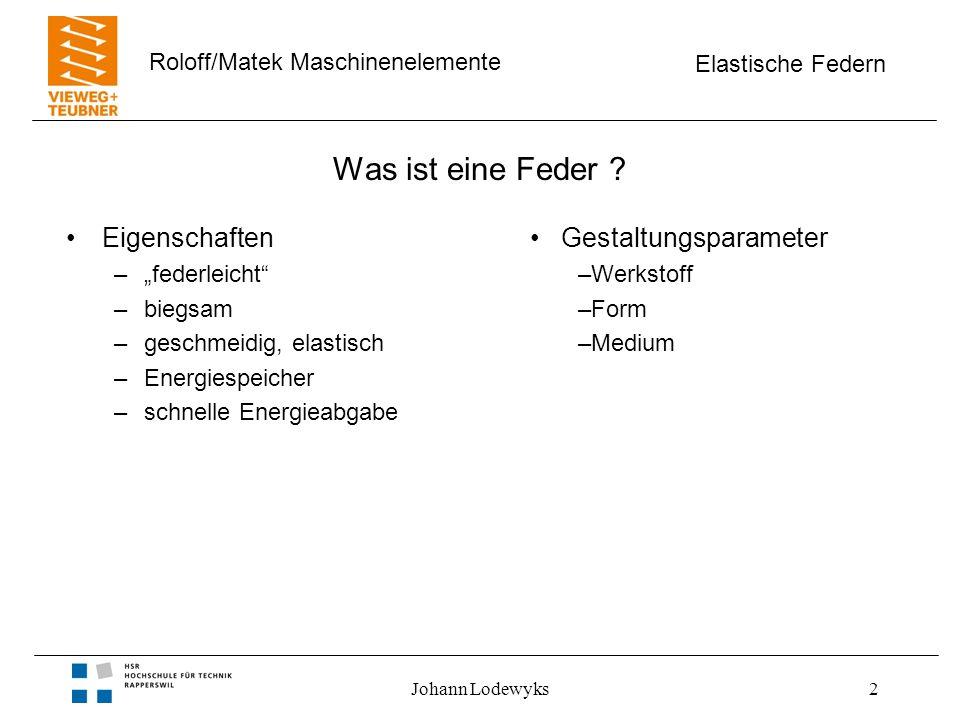 Elastische Federn Roloff/Matek Maschinenelemente Johann Lodewyks3 Was ist eine Feder .