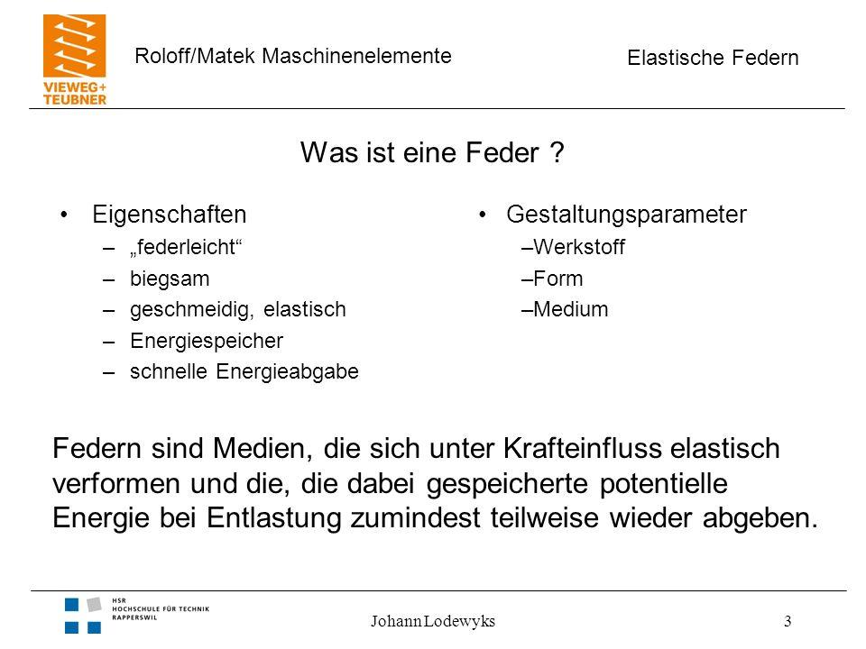 Elastische Federn Roloff/Matek Maschinenelemente Johann Lodewyks4 Aufgaben technischer Feder Kraftschluss –Kraftfluss gewährleisten Beispiele Kupplung, Bremse, Kontaktfeder