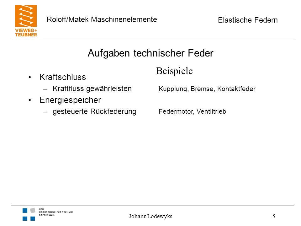 Elastische Federn Roloff/Matek Maschinenelemente Johann Lodewyks26 Optimierung von Federn Werkstoffe, Medien –hochfester Federstahl –Nichteisen - Metalle –Gummi –Gase –Flüssigkeiten Beurteilungsfaktoren –Federarbeit / Federvolumen –Federarbeit / Einbauvolumen –Federrate / Federvolumen –Federrate / Einbauvolumen