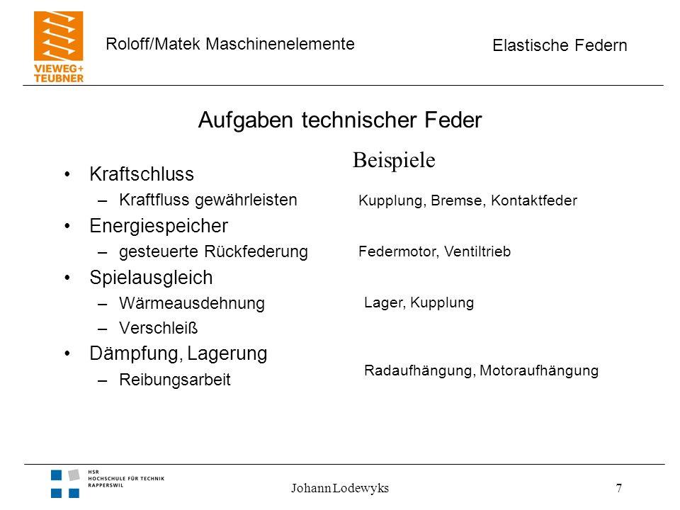 Elastische Federn Roloff/Matek Maschinenelemente Johann Lodewyks18 Serienschaltung von Federn Bild 10-02 Eigenschaft –gleiche Kraft (F) in allen Federn Voraussetzung –Parallelbewegung ohne Drehung Summe der Momente = 0