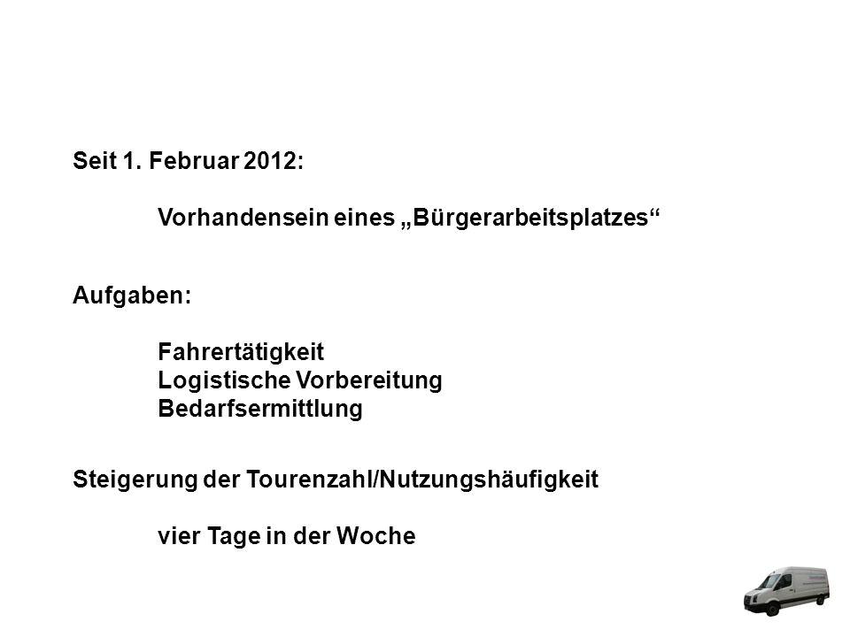 Seit 1. Februar 2012: Vorhandensein eines Bürgerarbeitsplatzes Aufgaben: Fahrertätigkeit Logistische Vorbereitung Bedarfsermittlung Steigerung der Tou