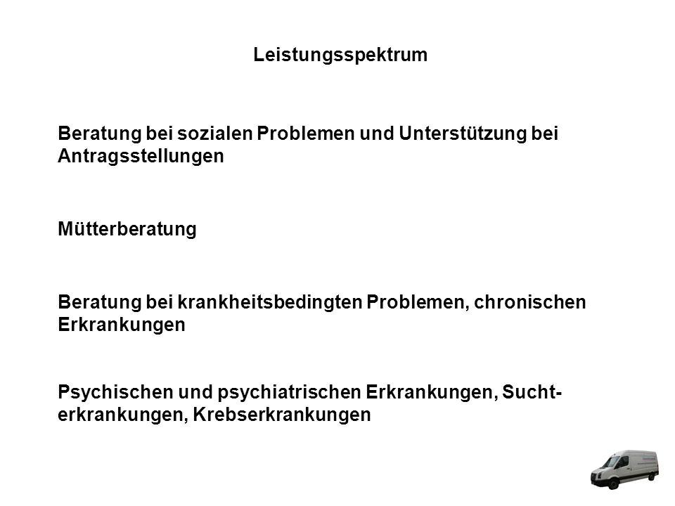 Leistungsspektrum Beratung bei sozialen Problemen und Unterstützung bei Antragsstellungen Mütterberatung Beratung bei krankheitsbedingten Problemen, c