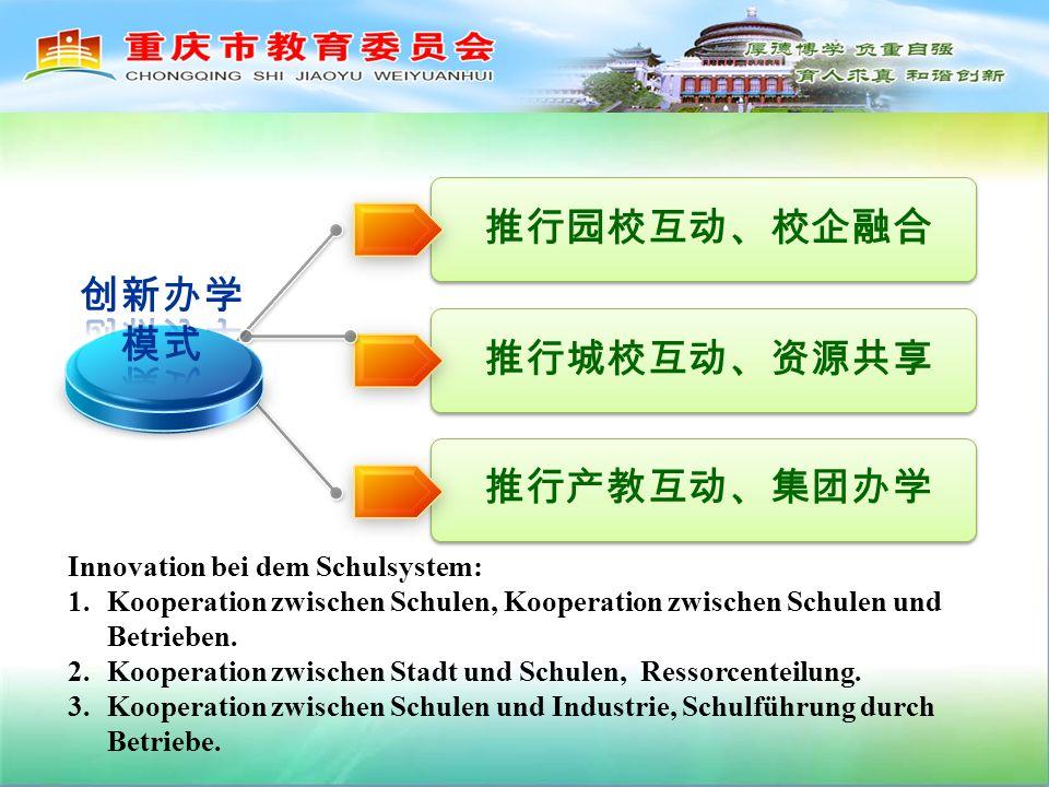 Innovation bei dem Schulsystem: 1.Kooperation zwischen Schulen, Kooperation zwischen Schulen und Betrieben.