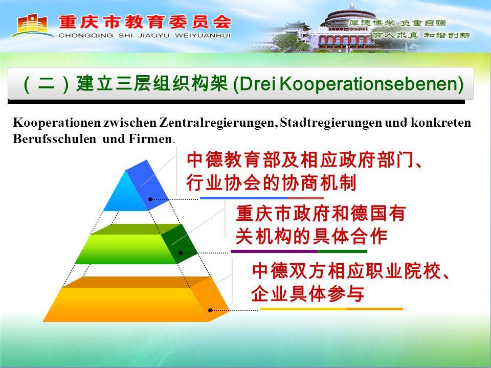 (Drei Kooperationsebenen) Kooperationen zwischen Zentralregierungen, Stadtregierungen und konkreten Berufsschulen und Firmen.