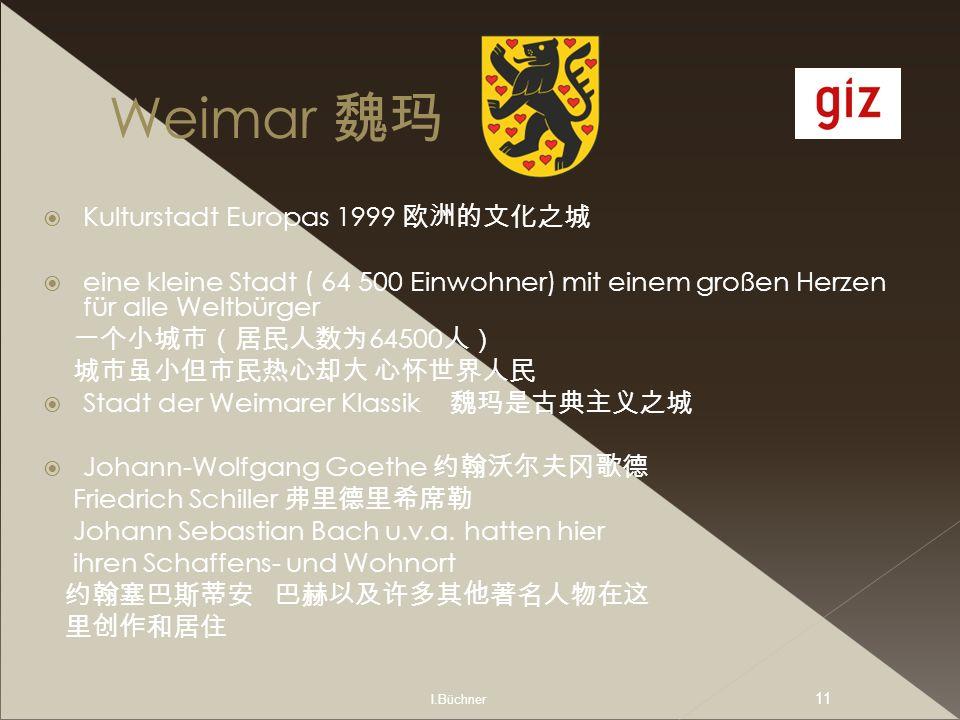 I.Büchner 11 Weimar Kulturstadt Europas 1999 eine kleine Stadt ( 64 500 Einwohner) mit einem großen Herzen für alle Weltbürger 64500 Stadt der Weimare