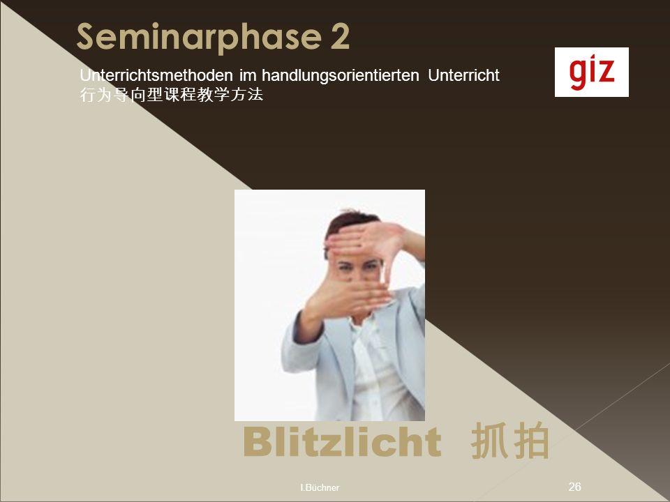 I.Büchner 26 Seminarphase 2 Blitzlicht Unterrichtsmethoden im handlungsorientierten Unterricht