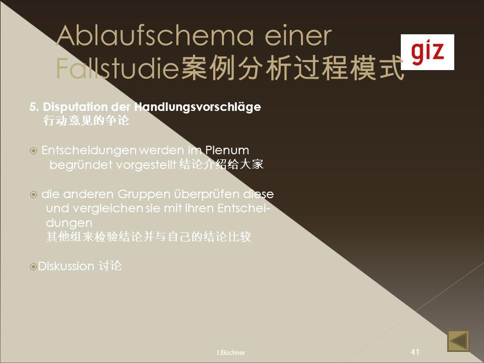 I.Büchner 41 Ablaufschema einer Fallstudie 5. Disputation der Handlungsvorschläge Entscheidungen werden im Plenum begründet vorgestellt die anderen Gr