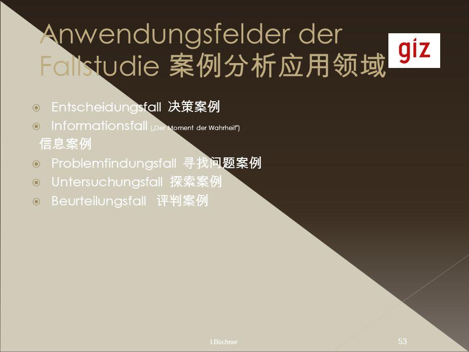 I.Büchner 53 Anwendungsfelder der Fallstudie Entscheidungsfall Informationsfall (Der Moment der Wahrheit) Problemfindungsfall Untersuchungsfall Beurte