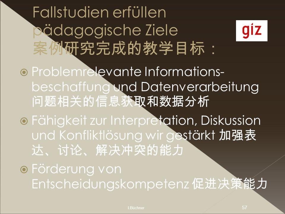 I.Büchner 57 Fallstudien erfüllen pädagogische Ziele Problemrelevante Informations- beschaffung und Datenverarbeitung Fähigkeit zur Interpretation, Di