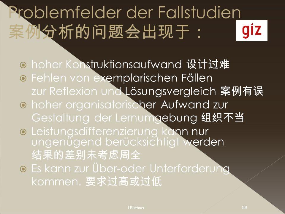 I.Büchner 58 Problemfelder der Fallstudien hoher Konstruktionsaufwand Fehlen von exemplarischen Fällen zur Reflexion und Lösungsvergleich hoher organi