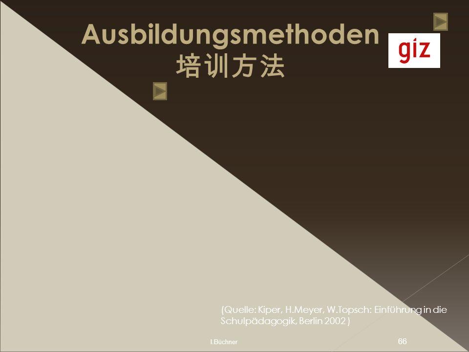 I.Büchner 66 Ausbildungsmethoden (Quelle: Kiper, H.Meyer, W.Topsch: Einführung in die Schulpädagogik, Berlin 2002 )